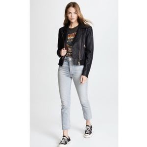 NEW NWT Free People Faux Leather Bomber Jacket